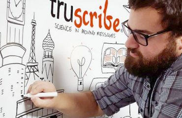 TruScribe artist at the whiteboard